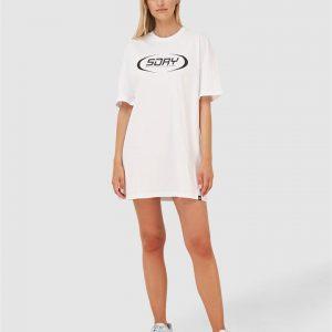 Superdry Hyper Oversized T Shirt Dress Optic