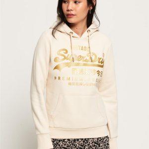Superdry V Logo Premium Luxe Entry Hood Soft White