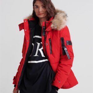 Superdry Premium Down New Rescue Jacket Rebel Red