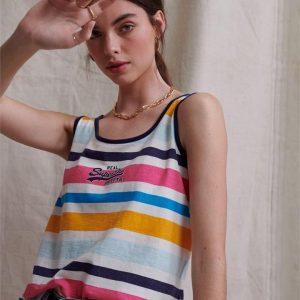 Superdry Vl Micro Stripe Classic Vest Couture White