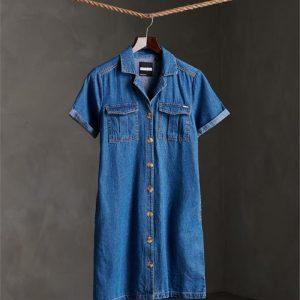 Superdry Kaya Utility Shirtdress Denim Indigo Dark Mid