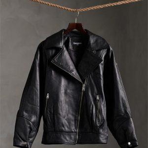 Superdry Edit Hybrid Leather Biker Black