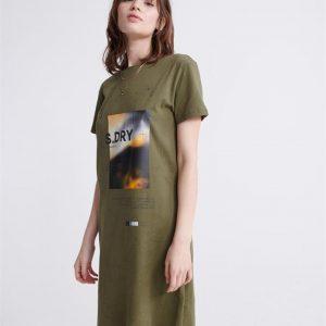 Superdry Desert Graphic T Shirt Dress Capulet Olive