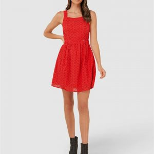 Superdry Blaire Broderie Dress Apple Red