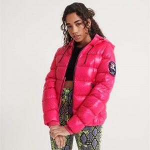 Superdry Premium Down Machu Jacket Raspberry Sorbet