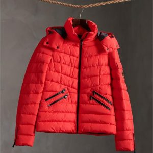 Superdry Luxe Quilt Padded Jacket Festive Red