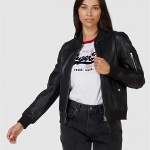 Superdry New York Leather Bomber Black