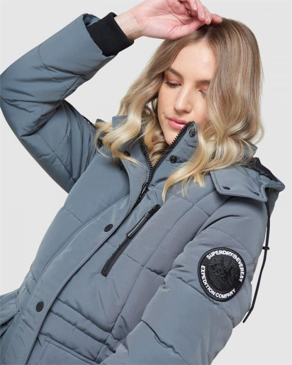 Superdry Longline Everest Coat Slate