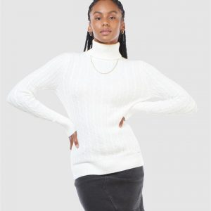 Superdry Croyde Cable Roll Neck Winter White