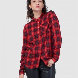 Superdry Light Weight Plaid Shirt Scream Red Check