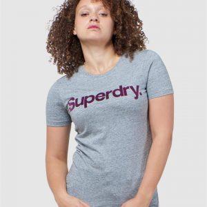 Superdry Cl Flock Tee Soft Grey Marl