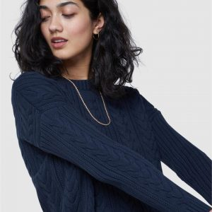 Superdry Dropped Shoulder Cable Crew Eclipse Navy