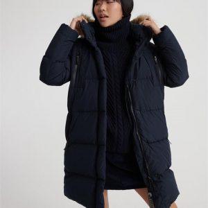 Superdry Premium Down Louisa Coat Blue Graphite
