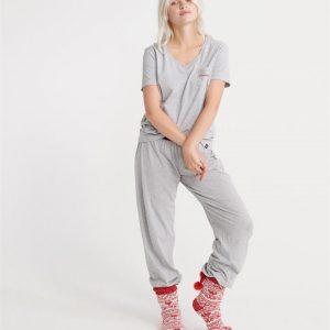Superdry Loungewear Cotton Set Grey Stripe