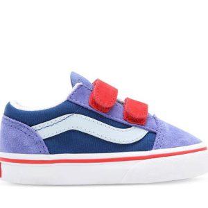 Vans Vans Toddler Old Skool Velcro Color Block Baja Blue & High Risk Red