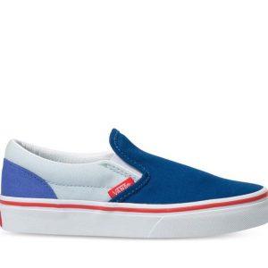 Vans Vans Kids Classic Slip-On Color Block Baja Blue & High Risk Red