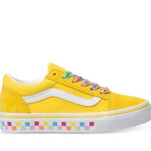 Vans Vans Kids Old Skool Rainbow Lace Cyber Yellow & True White