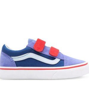 Vans Vans Kids Old Skool Velcro Color Block Baja Blue & High Risk Red